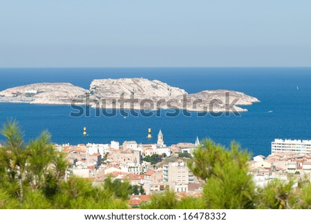 view of water area of Marseille - stock photo
