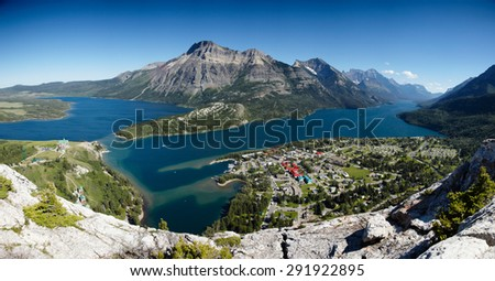 View of Waterton Lakes from the Bear`s Hump, Waterton National Park