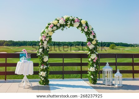 View of wedding place with empty seats - stock photo
