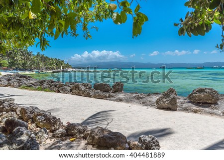 View of  White Beach at Boracay island of Philippines - stock photo