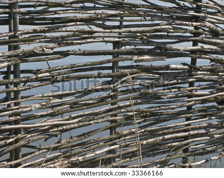 View of wicker fence in russian village