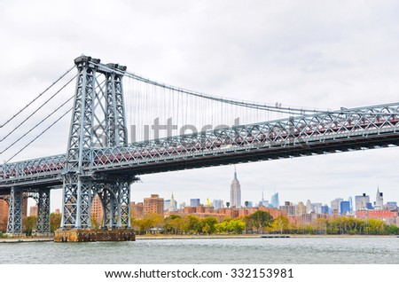 View of Williamsburg Bridge in New York City - stock photo