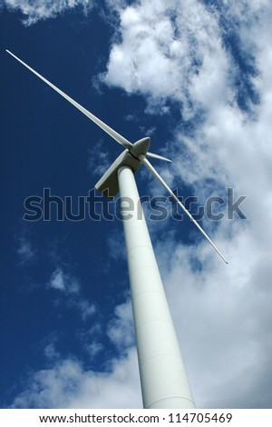 view of wind turbine from base - stock photo