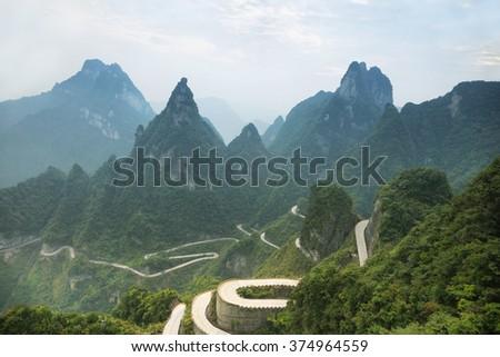 View of winding road of Tianmen mountain national park, Hunan province, China - stock photo