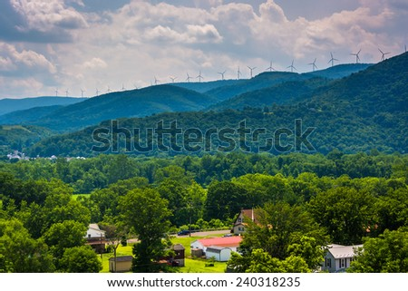 View of windmills in the mountains near Keyser, West Virginia. - stock photo