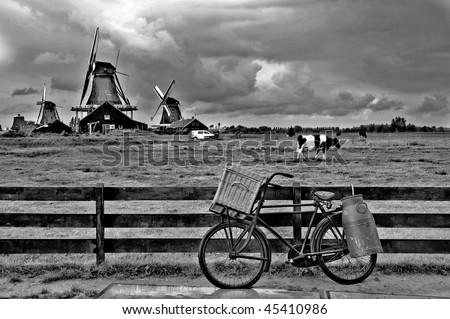 view of windmills in Zaanse Schans - Holland - stock photo