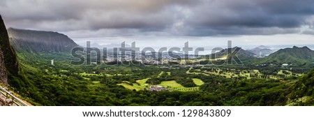 view of windward Oahu as seen from the Pali lookout - stock photo
