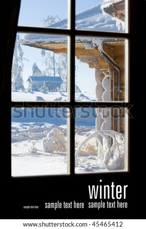 view of winter storm through paned window - stock photo