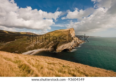 View of Worbarrow bay on a summers day in Dorset - stock photo