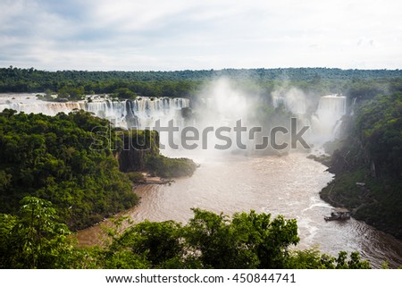 view of worldwide known Iguassu falls at the border of Brazil and Argentina