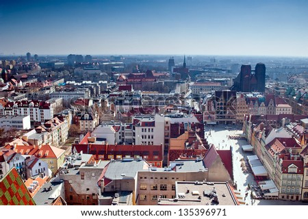 View of Wroclaw city with monuments