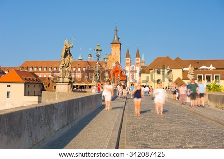View of Wurzburg at sunset time - stock photo