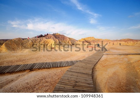 view of Xinjiang desert,Western China - stock photo