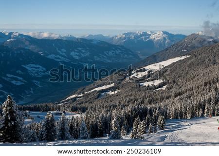 View of Zillertal Arena ski resort in Austria - stock photo