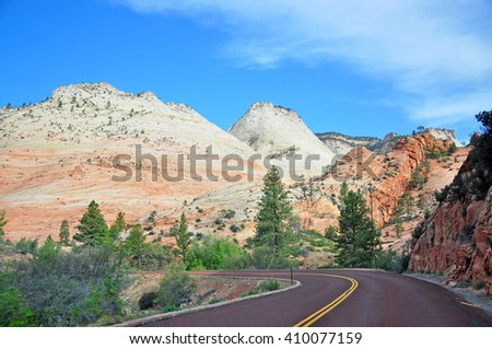 View of Zion National Park on Utah State Highway 9, Utah, USA - stock photo