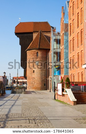 view of Zuraw (oldest crane) in Gdansk ,  Poland - stock photo