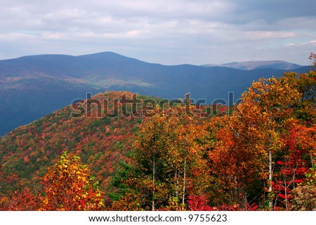 View off Fort Mountain Georgia with fall color - stock photo