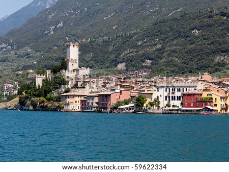 View off the coast of Malcesine on Lake Garda with the castle framing the town
