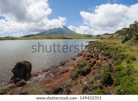 View om Mount Pico (Montanha do Pico) from Lake Captain (Lagoa Capitao), Azores, Portugal - stock photo