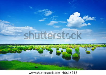 view on a flood field - stock photo