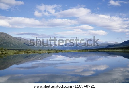 View on a lake and mountains