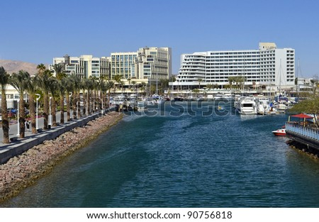 View on a new promenade and marina in Eilat - famous resort city in Israel - stock photo