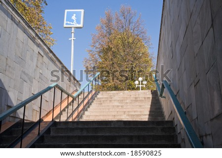 view on a tree from pedestrian subway - stock photo