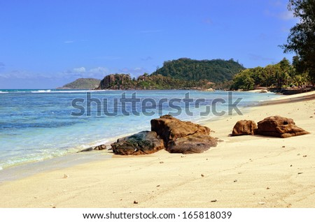 View on a tropical shore, Port Glaud, Mahe, Seychelles island
