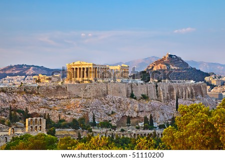 View on Acropolis at sunset, Athens, Greece - stock photo
