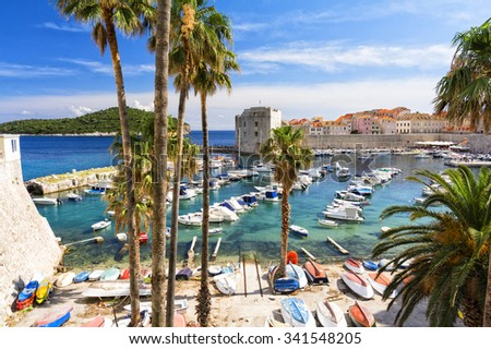 View on adriatic sea and Dubrovnik in Dalmatia, Croatia - stock photo