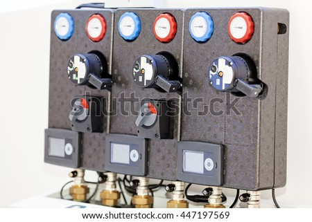 View on advanced industrial control panel with switches, new technology; note shallow depth of field