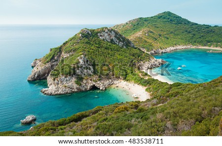 View on Afionas from above, Corfu island, Greece