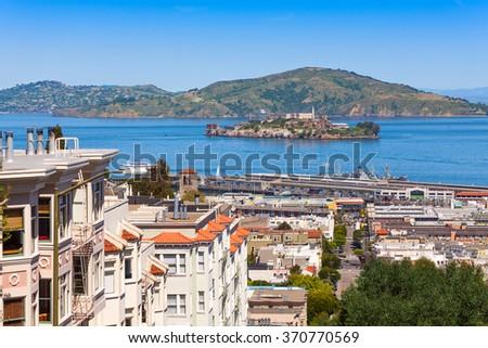 View on Alcatraz from san Francisco city - stock photo