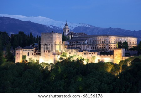 View on Alhambra at twilight, Granada, Spain. This - stock photo