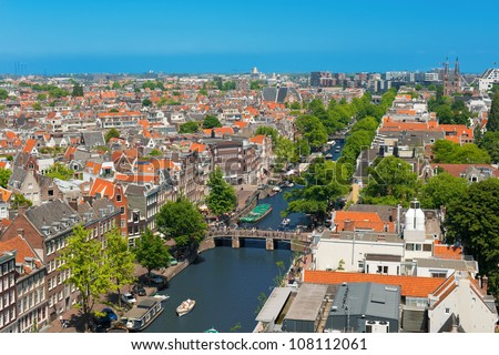 View on Amsterdam channel. GPS information is in the file - stock photo