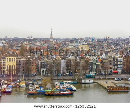 View on Amsterdam in winter - stock photo