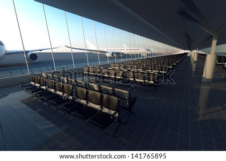 View on an aisle of modern airport terminal with black leather seats on a sunny morning. A huge viewing glass facade with a passenger aircraft behind it. - stock photo