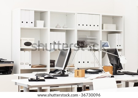 view on an office working place with various business accessories - stock photo