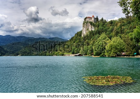 View on ancient castle on top of a rock. - stock photo