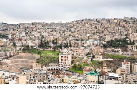 view on  ancient Roman theater in Amman, Jordan - stock photo