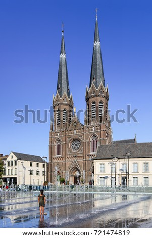 View on ancient Saint Joseph Church, center of Tilburg, The Netherlands