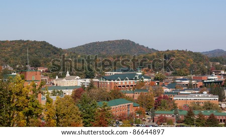 View on Appalachian state university campus in Boone, NC - stock photo