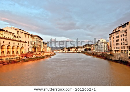 View on Arno river at sunset time. Florence,Tuscany, Italy. HDR. - stock photo