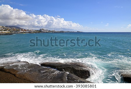 View on Atlantic ocean in Costa Adeje,Tenerife,Canary Islands.