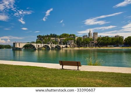 View on Avignon Bridge - stock photo