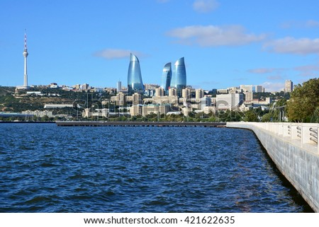 view on Baku TV tower and Flame Towers from the port - stock photo