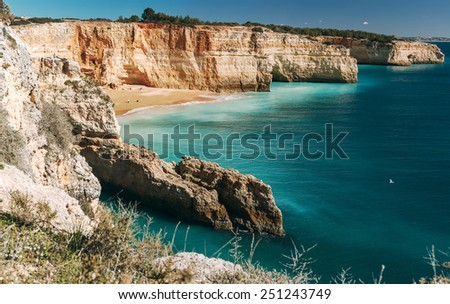 View on bay and Benagil beach, located on the Atlantic coast in Lagoa Municipality, Algarve. - stock photo