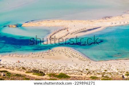 View on beautiful Balos beach on Crete island, Greece - stock photo