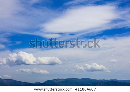 View on beautiful skyscape over land - stock photo