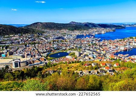 View on Bergen and harbor from the mountain top - stock photo